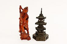 Chinese Bronze Pagoda & Carved Wood Figure