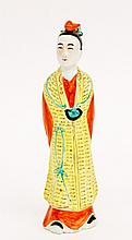 Porcelain Standing Figure in Yellow Robe
