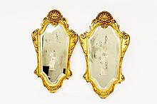 Pair of Italian Gilt Etched Glass Mirrors