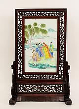 Chinese Porcelain Figural Plaque on Stand