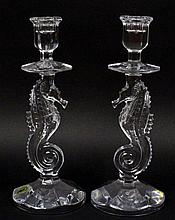 Pair of Waterford Crystal Seahorse Candlesticks