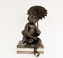 Cast Bronze Monkey with Umbrella on Marble Base