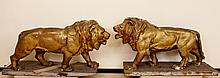 Monumental Pair of Papier Mache Lions