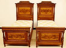 Pair of 19th C. French Walnut Twin Beds