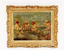 Impressionist Oil of Children in Field