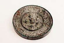 Chinese Bronze Mirror w/Animal & Grape Motif