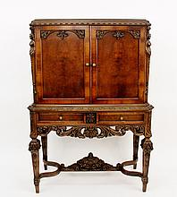 Walnut Renaissance Revival China Cabinet