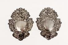 Pair of 19th C. Pewter Wall Candle Sconces
