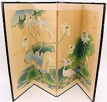 Antique Chinese Four Panel Screen