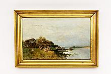 19th C. Continental, Figures on Shoreline Oil