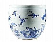 Chinese Blue & White Porcelain Planter w/ Birds