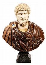 Large Carved Marble Bust of Roman Emperor