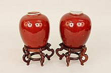 Pair of Chinese Ox Blood Porcelain Vases