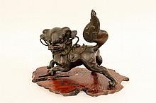 Oriental Bronze Foo Dog Sculpture