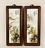 Two Oriental Porcelain Hand Painted Plaques