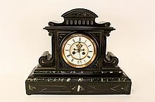 Black Slate & Green Marble Mantle Clock
