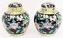 Pair of Chinese Famille Noire Ginger Jars