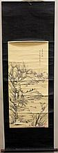 Chinese Landscape with Figure Scroll Painting