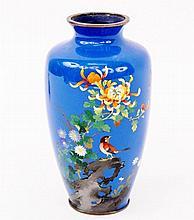 Oriental Cloisonne Vase w/Bird & Flowers