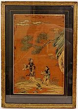 Framed Chinese Figural Silk Embroidery Textile