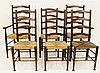 Set of Six English Ladder Back Chairs