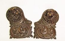 Pair of Carved Wood Lion's Head Wall Fragments
