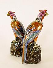 Pair of Oriental Painted Porcelain Peacocks