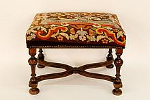 William & Mary Style Stool w/Needlepoint Cover