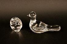 Steuben Glass Owl & Baccarat Bird