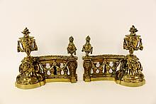 Pair of 19th C. Ornate Brass Andirons