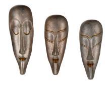 Collection Of 3 Ceramic Glazed Masks, Lucite Bases