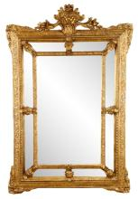 Aesthetic Style Carved Giltwood Cushion Mirror