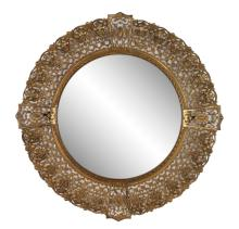 Round Aesthetic Period Reticulated Brass Mirror