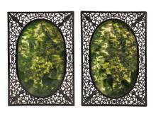 Pair of Very Fine Chinese Spinach Jade Screens