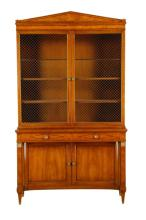Federal Style Walnut Inlay Display Cabinet, 20th C