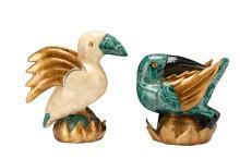Pair of Hollywood Regency Enameled Parrots