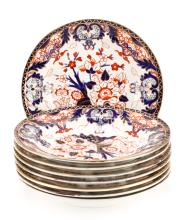 Eight Royal Crown Derby Imari Low Bowls, 19th C.