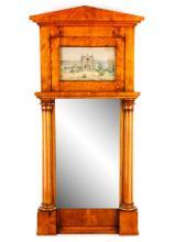 Fine Wood Trumeau Mirror With Lakeside Scene