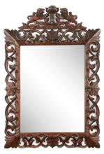 Continental Stained Oak Carved Wall Mirror