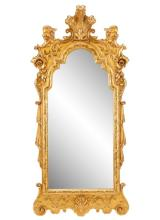George II Style Giltwood Wall Mirror With Plume