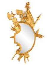French Giltwood Trophy Mirror, 20th C.