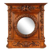 English Carved Oak Pier Mirror, L. 19th Century