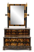 English Black Lacquer Toilet Mirror, 19th C.