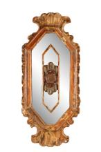 19th C. Painted Giltwood Mirror, Rocaille & Rose