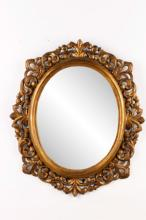 Italian Carved & Giltwood Oval Wall Mirror, 19th C