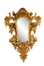 19th C. Italian Giltwood Shell & Grape Wall Mirror