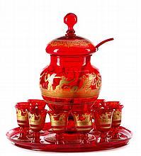 Bohemian Ruby Glass Punch Set, Roman Figural Motif