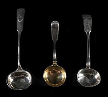 Group of 3 Sterling Soup Ladles, 2 Russian