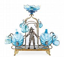 Bohemian Barrel Form Glass Decanter Set on Stand