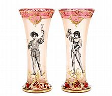 Pair of Bohemian Cranberry Vases w/ Figures